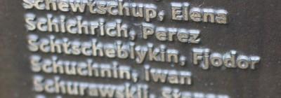 Gedenktafel für sowjetische Kriegsgefangene auf dem Friedhof des ehemaligen Stalag III A in Luckenwalde