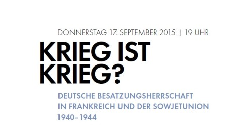 """Einladung zur Veranstaltung """"Krieg ist Krieg?"""" am 17. September"""